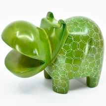 Vaneal Group Hand Carved Soapstone Large Heavy Green Hippopotamus Hippo Bookend image 3