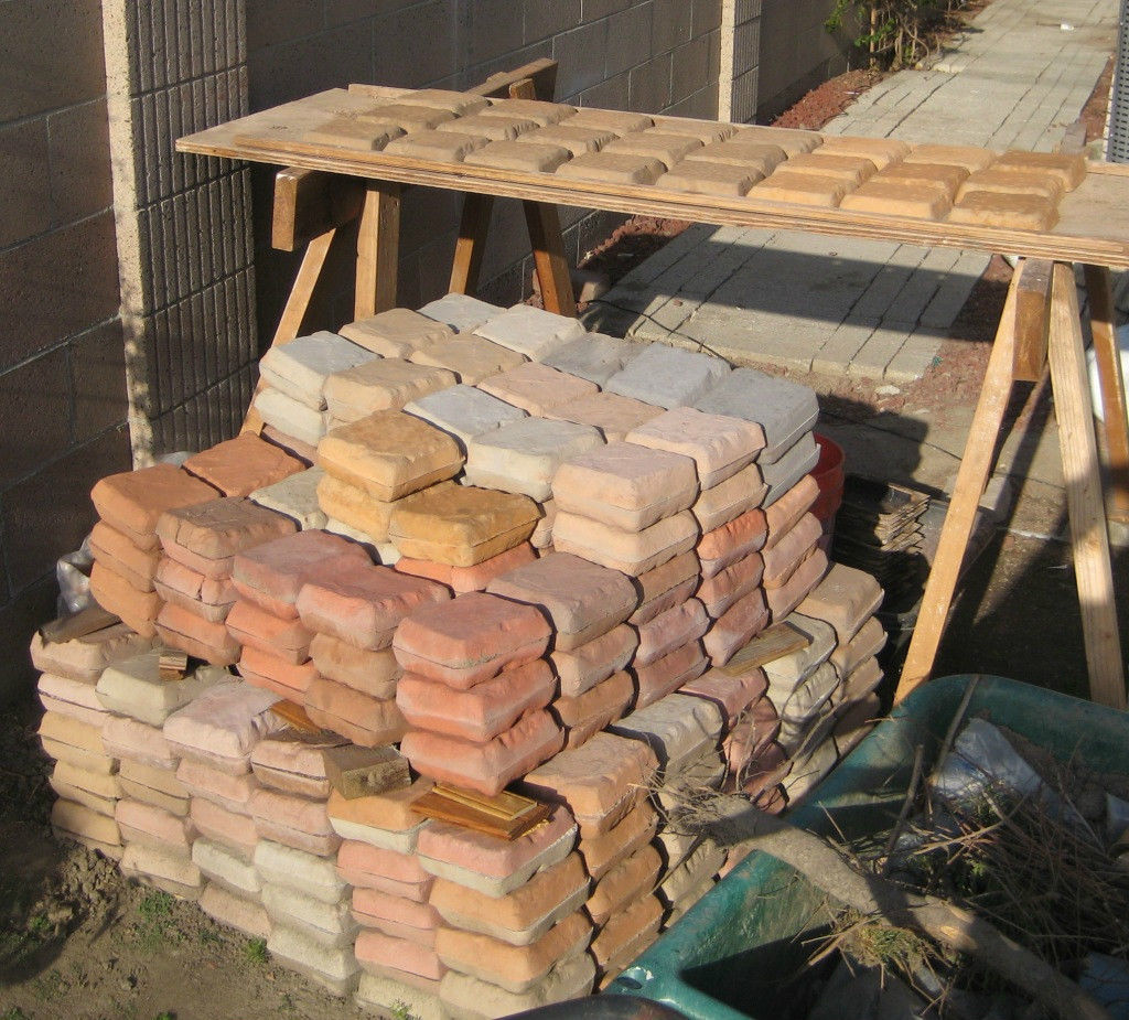 "Six Concrete Molds 8""x8""x1.5"" Make 100s of Cobblestones For Patio, Walks, Walls"