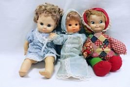 ORIGINAL Vintage Lot of 3 Cloth Soft Body Baby Dolls / Brands Unknown  - $9.89