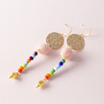 Modern Pink Felted Ball Pom Pom Multi Color Colorful Rainbow Drop Earrings - $9.00
