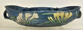 """FREESIA Large Roseville Pottery USA Blue Console Bowl 469-14"""" Excellent - $114.99"""
