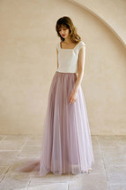 Gray High Waisted Maxi Tulle Skirt Wedding Tulle Skirt with Train Plus Size WM12 image 11