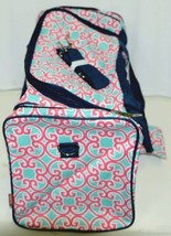 NGIL HUD423NY Southern Print Canvas Duffle Bag Colors Mint Pink White and Navy image 2