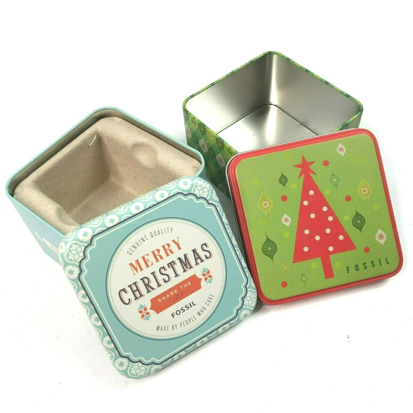 Fossil Christmas Tins 2 Retro Small Gift Box Bundle Holiday 2003 2010 Empty - $24.04