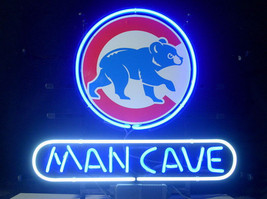 "Chicago Cubs Man Cave Baseball MLB Real Glass Beer Neon Sign 20""x16"" - $123.00"