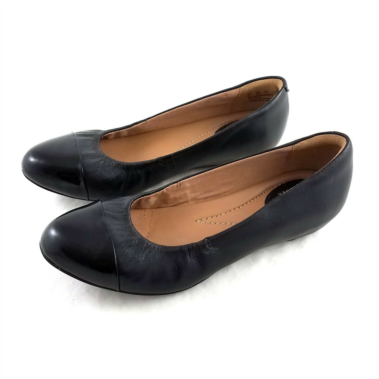 Primary image for Clarks Artisan Black Leather Cap Toe Ballet Flats Comfort Shoes Womens 6.5 W