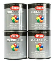 4 Cans Krylon 32 Oz Color Maxx KDQ5627 Satin Classic Gray Acrylic Latex ... - $47.99