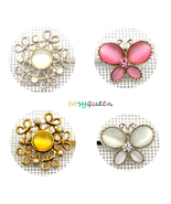 4 Pack Amber Pink White Butterfly Floral Swarovski Element Crystal Bobby... - $22.00