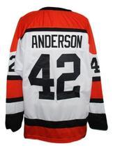 Custom Name # Denver Spurs Retro Hockey Jersey New White Anderson #42 Any Size image 2