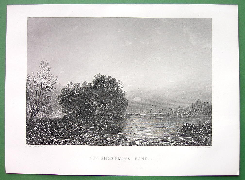 Primary image for FISHERMAN'S Cottage Home River Sunset !! SUPERB Antique Print Engraving