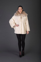 Luxury gift/Beige Beaver Fur Coat/Fur jacket with Spotted Hood  / Weddin... - $1,150.00