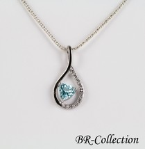 Sterling Silver Infinity Pendant with Heart Shaped Sky Blue Topaz Stone - $18.76