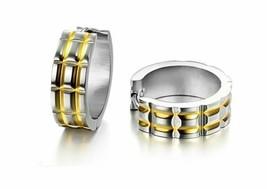 316L Stainless Steel 14K Gold GP Striped 7mm Hoop Earrings E91 - $11.92