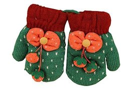 Durable Lovely Warm Gloves Useful Woolen Winter Baby Mittens 137CM Green