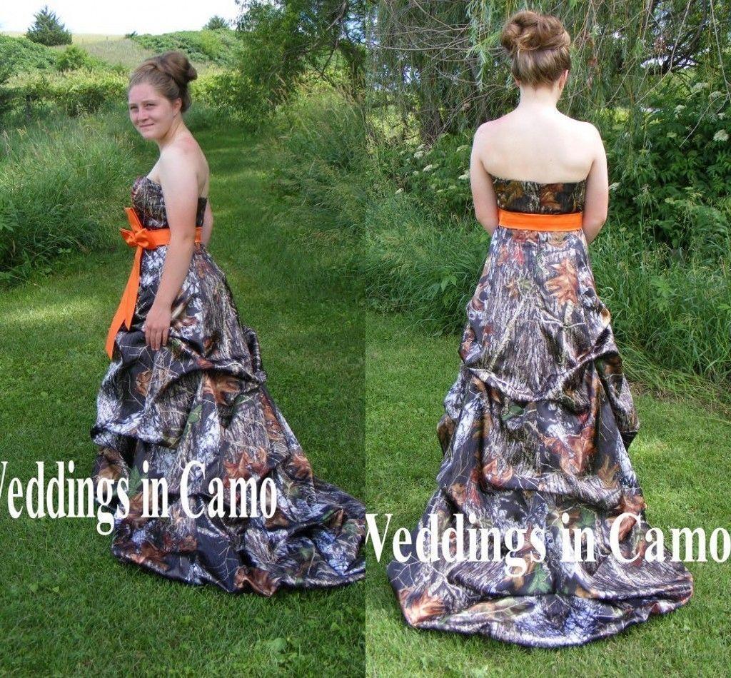 e46e25c49ac S l1600. S l1600. Previous. 2017 Camo Wedding Dresses Formal A-Line  Camouflage Orange Bow Bridal Gown Custom