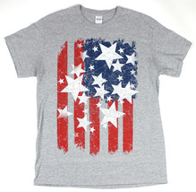 Mens American Stars and Stripes US Flag T-shirt Distressed Look Size Med... - $16.78