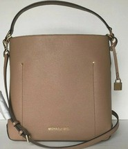 New Michael Kors Hayes Large Shoulder Bag handbag Leather Dark Khaki - $114.00