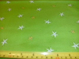 1/2 Yd Andover Quilt Fabric White Yellow Gold Stars on Lime Green - $5.09