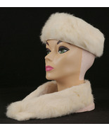 Vintage White Rabbit Fur Pillbox Hat and Clip Collar with Original Box - $59.99