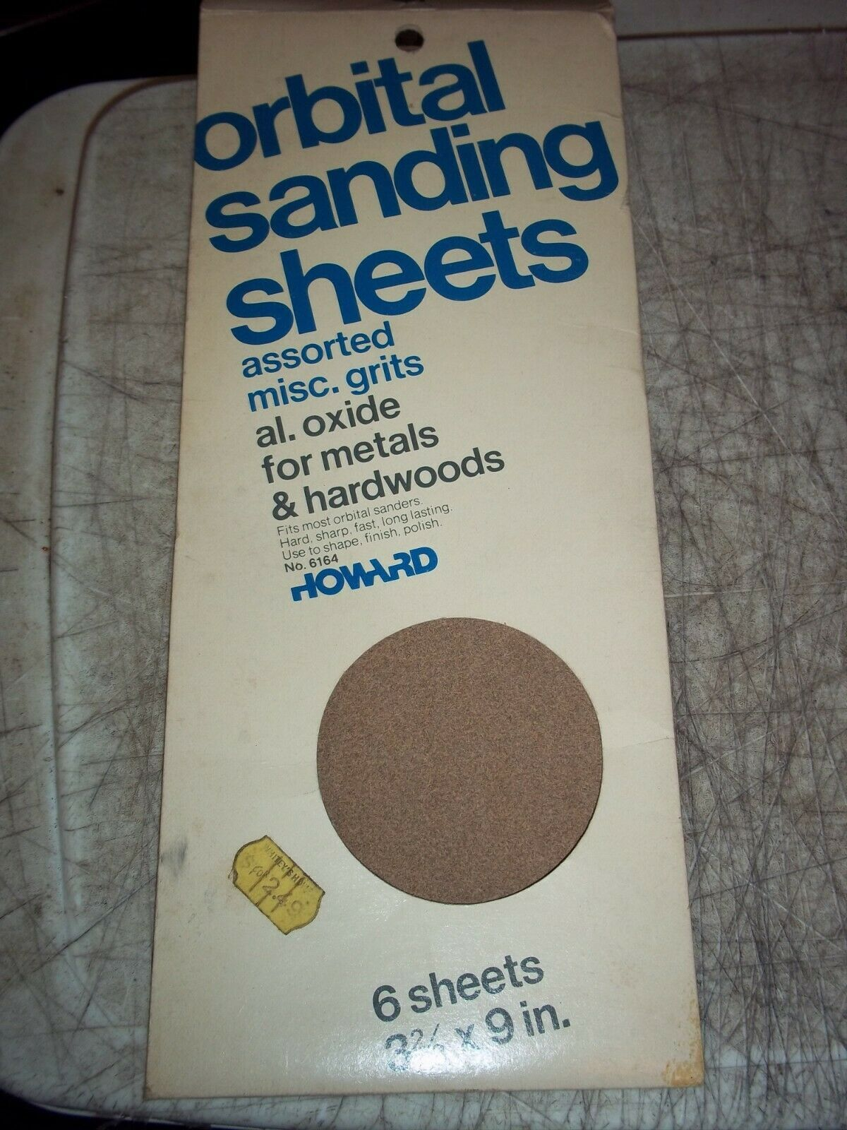 """5 HOWARD ORBITAL SANDING SHEETS 1/3 SHTS 3-2/3""""x9"""" 2 MED 3 ALUMINUM OXIDE 150 - $7.12"""