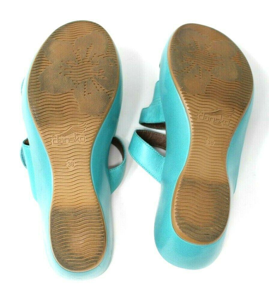 Dansko Women's 38 7.5 8 Turquoise Blue Dixie Sandals Slides Leather Artsy EUC image 7