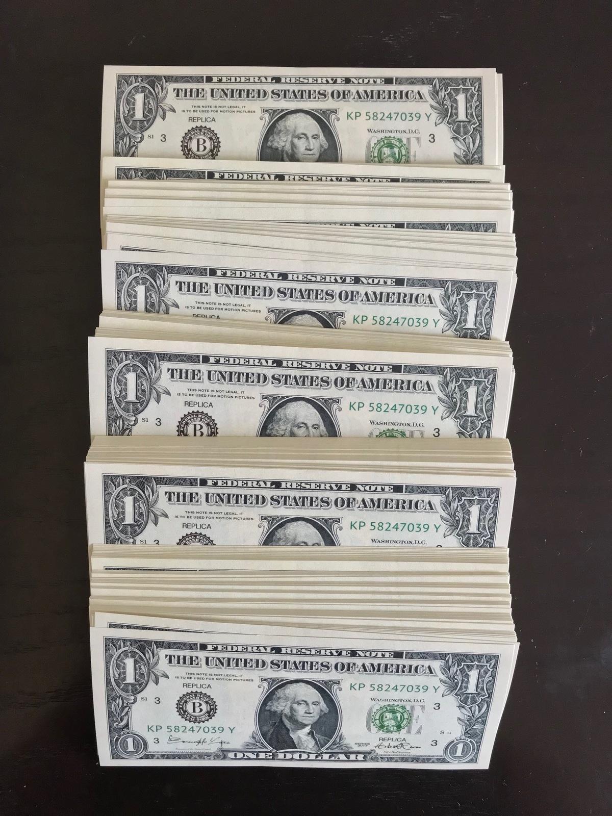 100 PROP MONEY REPLICA 1s All Full Print For Movie Video Films etc.