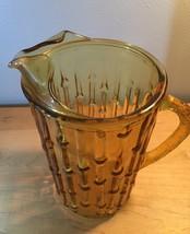 Vintage 70s Anchor Hocking tahiti bamboo pattern glass pitcher image 3