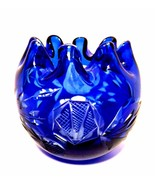 Cobalt Blue Rose Bowl Cut to Clear Crystal Art Glass Czech Bohemian Ruff... - $56.43