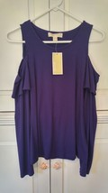 New Womens Michael Kors Cold Shoulder Ruffle Long Sleeve Top purple 99.50 Small - $28.04