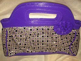 Vera Bradley FRILL Clutch with Flower Accent in PURPLE PUNCH  Ex pre owned - $18.61