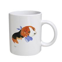 KuzmarK Coffee Cup Mug 11 Ounce -  Beagle Puppy with Blue Bandana Dog Ar... - £13.67 GBP