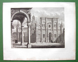 ITALY  Certosa at Pavia - 1857 Antique Print Engraving - $21.42
