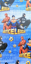 JUSTICE LEAGUE Wrapping Paper Gift Book Cover Party Wrap 2 Sheet Superman Batman - $16.78