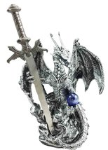 Ebros Gift Legendary Silver Dragon Carrying Magical Orb and Excalibur Sw... - €15,75 EUR