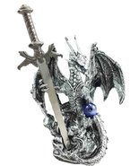 Legendary Silver Dragon Carrying Magical Orb and Excalibur Sword Letter ... - $18.76