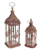 Melrose Set of 2 Brick Brown Antique Rustic Pillar Candle Holder Lantern... - $143.54