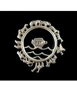 Vintage Sterling Silver Noah's Ark Black Onyx Bible Story Animal Brooch ... - $116.99