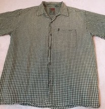 Pineapple Connection Mens Short Sleeve Casual Shirt Size L Green White Plaid  E4 - $12.86