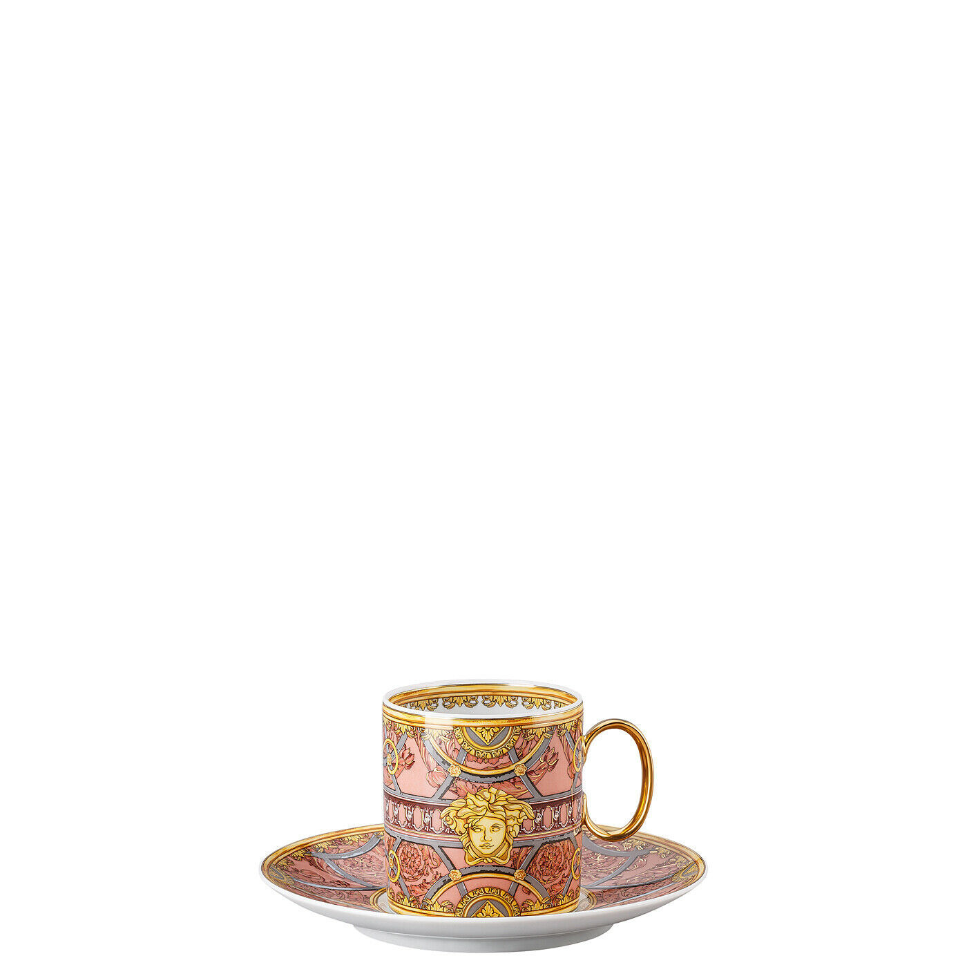 Primary image for Versace by Rosenthal Set of 6 Scala Palazzo Rosa Cup & saucer 4 tall