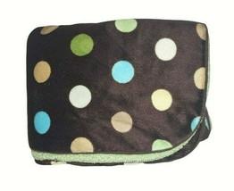 CIRCO Polka Dot Brown Baby Blanket Green Sherpa Blue White Target 30x40 ... - $21.29