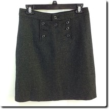 Old Navy Gray Wool Blend Button Panel Skirt Junior 1 - $11.65