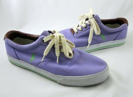 Ralph Lauren Polo 10.5 Vito Purple Shoes Leather Canvas Boat Sneakers Vt... - $49.99