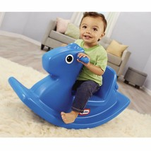 Rocking Horse Toy Kids Riding Grip Handles Indoor Outdoor Play Blue Gift... - $37.92