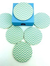 Drink coasters chevron 6 Sid Growth teal white absorbs Beverage moisture - $12.30