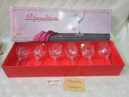 PrimaVera Di Cristallo Glasses Valencay Set 6 Magnolia Leaded Crystal Ne... - $50.41