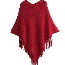 Knitted Fringe Irregular Women Winter Bohemian Poncho - $21.78