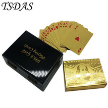 24K USD Gold Foil Plated Poker 100 Dollar Playing Cards With Wood Box - $14.50
