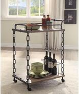 Retro Serving Cart, Rustic Oak & Antique Black  BM158849 - $187.60