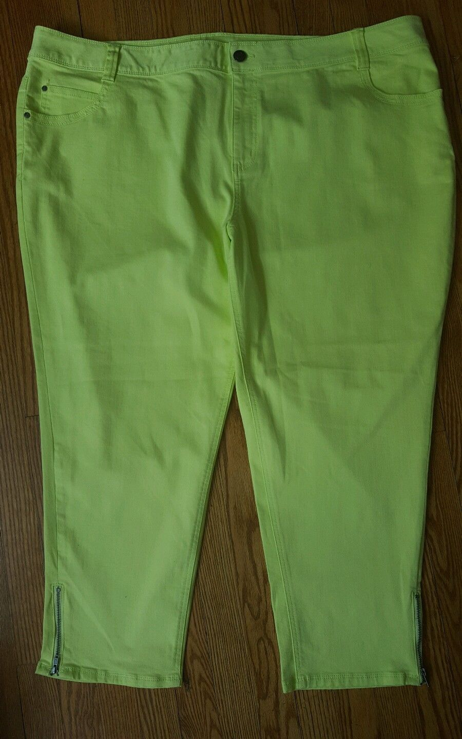 LANE BRYANT Womens 28 Plus Siz Lime green Genius Fit Ankle Zip stretch pants New