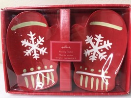 "❄ Pair of Hallmark ""Red Mitten with White Snowflake"" Serving Dishes set ... - $24.01"